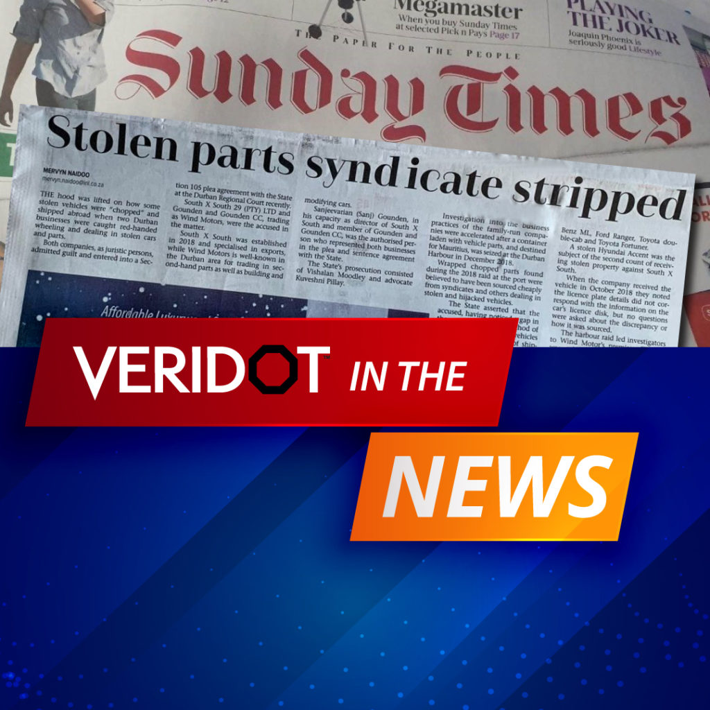 VERIDOT IN THE NEWS! WHERE ARE OUR STOLEN AND HIJACKED VEHICLES GOING TO?